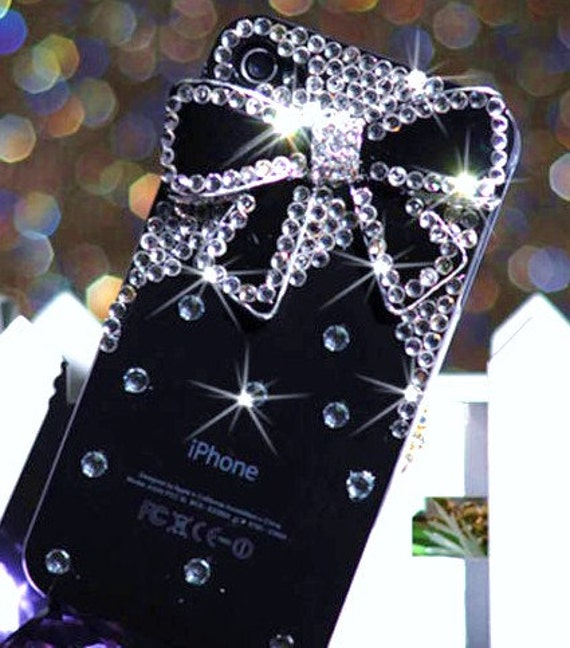 iPhone 4 and iPhone 4S Sparkling Diamond Black Bow Bling Rhinestone case