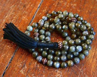 Labradorite 108 Bead Japa Mala Gemstone Hand Knotted Full Mala Prayer Beads Hindu Buddhist Mantra Meditation Yoga Jewelry Mala For Intuition