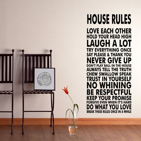 House rules vinyl wall decal sticker we do art vinyl by for Dining room vinyl wall art