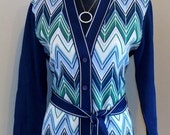 Vintage Chevron Sweater 1960s - 1970s  Retro Blue Chevron Sweater  SZ Med/ Large / Plus Size