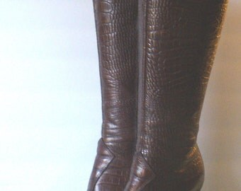 Vintage Fierce Knee High Made in Italy Leather Boots Size 36.5