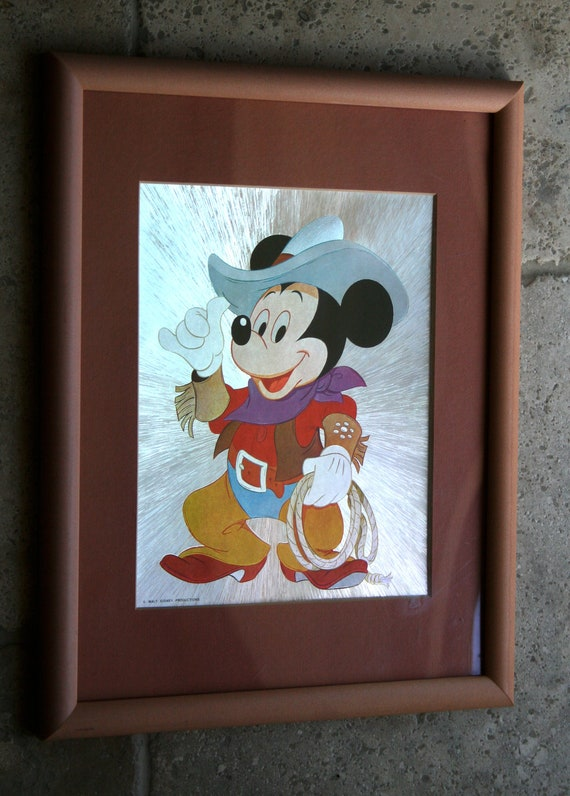 ViNTAGE Walt DISNEY MICKEY MOUSE Framed Art Cowboy Optical IIlusion Metalic Reflective Print