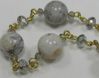 Gemstone and Crystal Gold Linked Bracelet, natural gemstones with grey, tan and peach hues with topaz crystals purple blue green pink