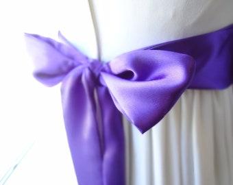 Purple Satin Sash belt Bridal