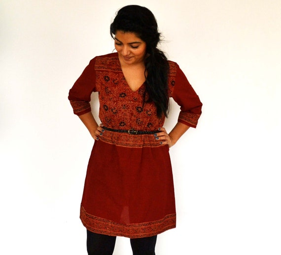The Maelu Tunic Dress in Brick - Hand Block Printed, Natural Vegetable Dyes, Cotton