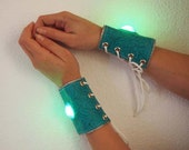 Made to Order LED Light Up Embossed Floral Vinyl Bracers - Pair, Turquoise with Rainbow Lights