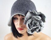 Felted Hat Cloche hat Gray Hat Art Hat Flapper hat Art deco hat Rose Retro hats Felt wearable art Nunofelt Nuno felt la belle epoque