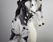 Felted Scarf Butterfly Scarf Nunofelt Wrap Felt Scarves Nuno felt Silk Silkyfelted  Eco shawl Fiber Art