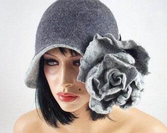 Felted Hat Cloche hat Gray Hat Art Hat Flapper hat Art deco hat Rose Retro hats Felt wearable art Nunofelt Nuno felt la belle epoque