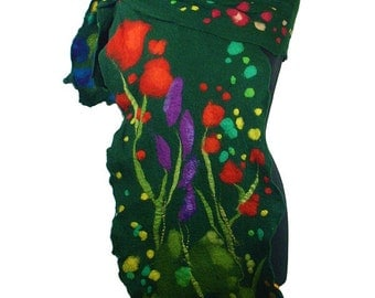 Felted Scarf  Nuno felt Scarf Green Scarves Felt  Fairy Wrap Green multicolor Nuno felt wearable art Silk  Fiber Art