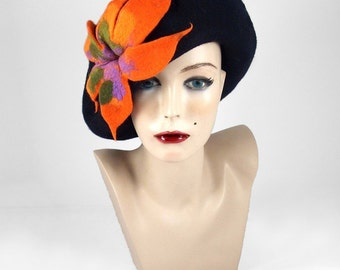 Felted Hat Black Beret Hat Hat with Flower Art Hat wild Artistic hats Felt wearable art Nunofelt Nuno felt la belle epoque Eco art deco