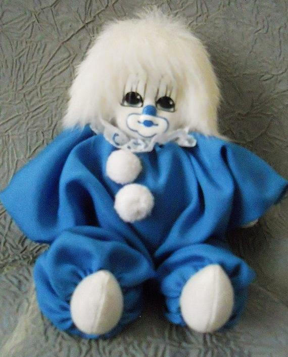 Vintage Kitschy 80's Q-Tee Clown Collector's Doll With White Rabbit Fur Hair - So Cute