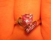 10k White Gold RING Pink Topaz & Diamond Heart Ring Size 7 Gift Modern Swirl Of I Love Pink Gemstones Valentines Day Womens Gift Ladies