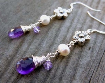 Sterling Silver Crystal Wire Wrapped Purple Amethyst Dangle Drop Earrings with Fresh water Pearl and Flower