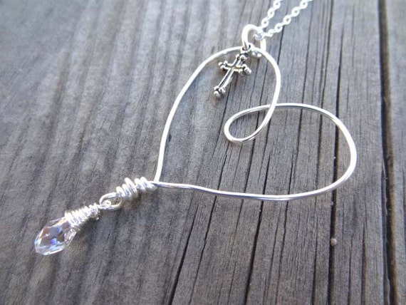 Silver Cross Charm Heart Crystal bead Wire Wrapped handmade pendant necklace Christian Religious Jewelry Love Memorial