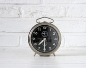 Large Vintage German Peter Repeat Alarm Clock with Black Face and Silver Chrome