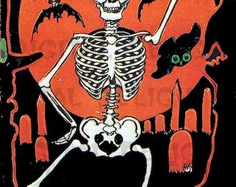 HALLOWEEN Digital Download. Vintage Illustration. Delightful Dancing Skeleton Diecut