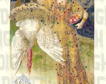 Pretty Lady Indian Thanksgiving Postcard VINTAGE Illustration. Digital Download