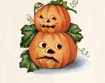 Halloween Fabric Block - Elf and Jack O Lanterns