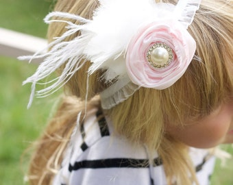 pink flower headband, flower girl headband, photo prop, pink headband, easter headband, pink and ivory headband, flower girl hair, headband