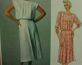 1980s Pleated Dress by Kasper Vogue American Designer Pattern 1544  Uncut  Size 12  Bust 34""
