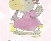 Blank note card Thank you pink handmade card, hippo, hello, handpainted background, vintage style, pink dress, red hairbow, retro card