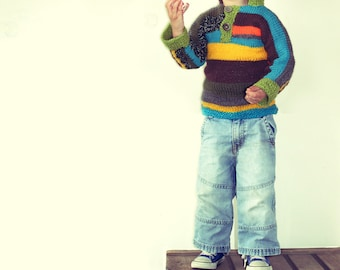 SALE Striped knitted warm colourful hoodie boys