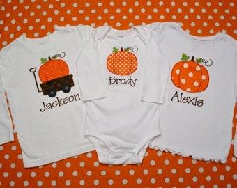 Sibling/Twin Halloween Appliqued Shirt/Onesie Set - Pumpkin/Wagon - You Pick THREE