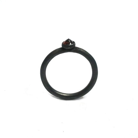 black ring Gothic engagement Black Ring Gemstone Silver