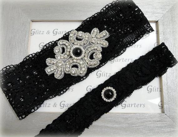 BLACK Lace Wedding Garter Set Bridal Garter CRYSTAL