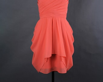 Coral Bridesmaid Dress, A-line Sweetheart Short Bridesmaid Dress, Chiffon Bridesmaid Dress
