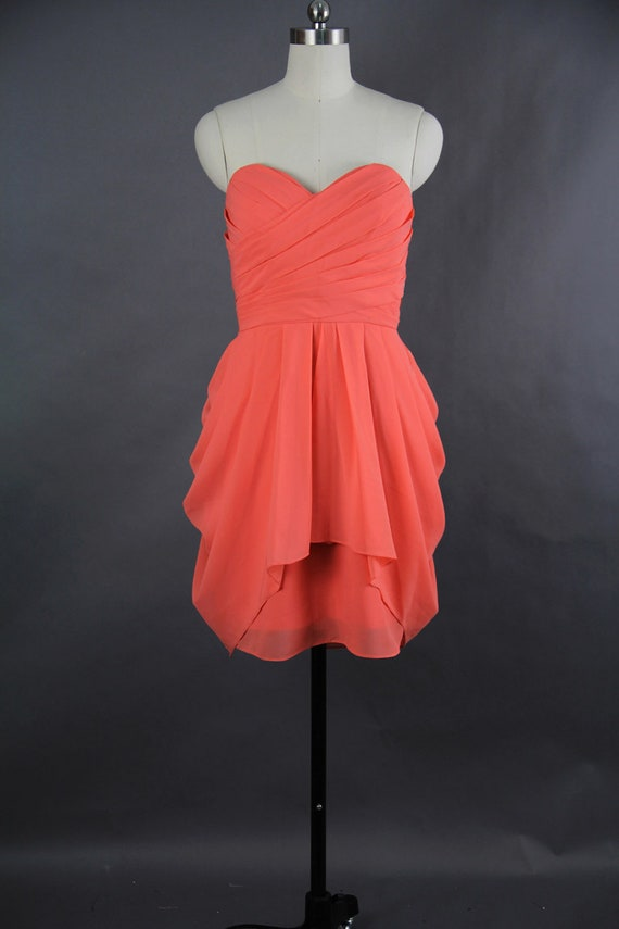 Coral Bridesmaid Dress A-line Sweetheart Short by harsuccthing