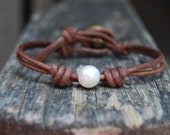 Pearl Bracelet with Wrapped / Knotted Distressed Brown Leather and Vintage Button - White Round Pearl, Minimalist, Stackable, Rustic, Boho
