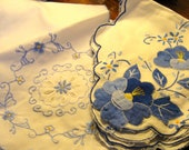 Vintage Blue Embroidered Bun Warmers or Table Scarves