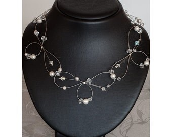 Unique Bridal Necklace with Swarovski Beads and pearls