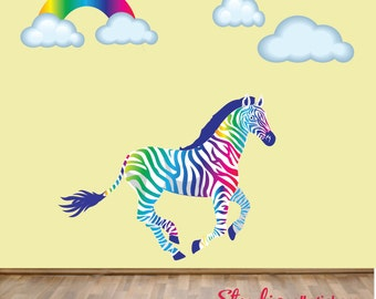 Rainbow Wall Decal ZEBRA Wall Decal REUSABLE Extra Large