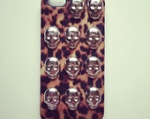 Textured Leopard Print Skull Studded Hard iPhone 5 Case