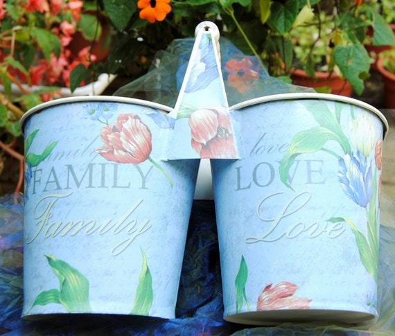 Vintage Decor - Baby Blue-  Inscribed  Flowers, Love, Family - 1980's - Sweet