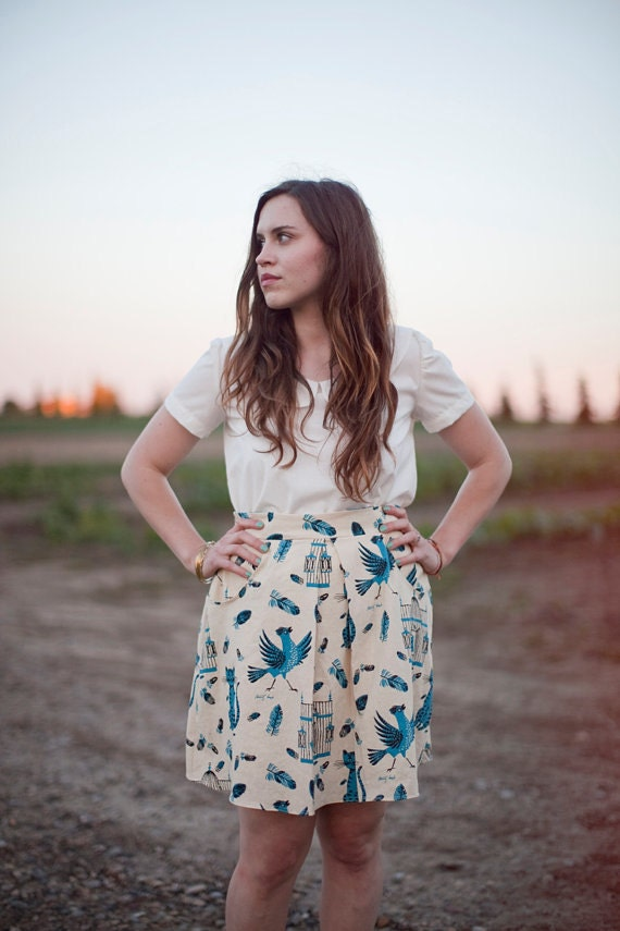 Cat and Bird Skirt with Pockets