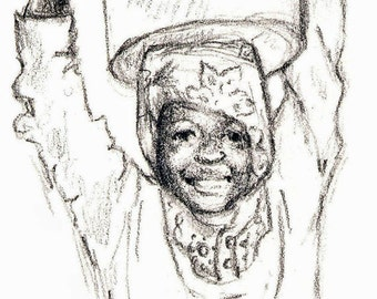 Art Print - Charcoal  Drawing of Young African Girl - Africa - Tanzania - Unframed
