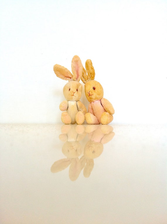 Corduroy Bunny Twin Collectables, Vintage Plush Easter Rabbit Decor, Cottage Chic Hand Sewn Ornaments
