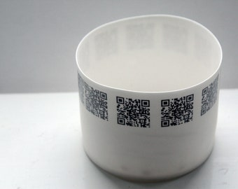 Round vessel. Stoneware English fine bone china cylindrical shape bowl with QR codes