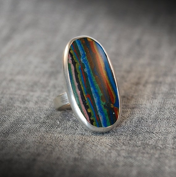 Rainbow Calsilica Sterling Silver Cabochon Ring