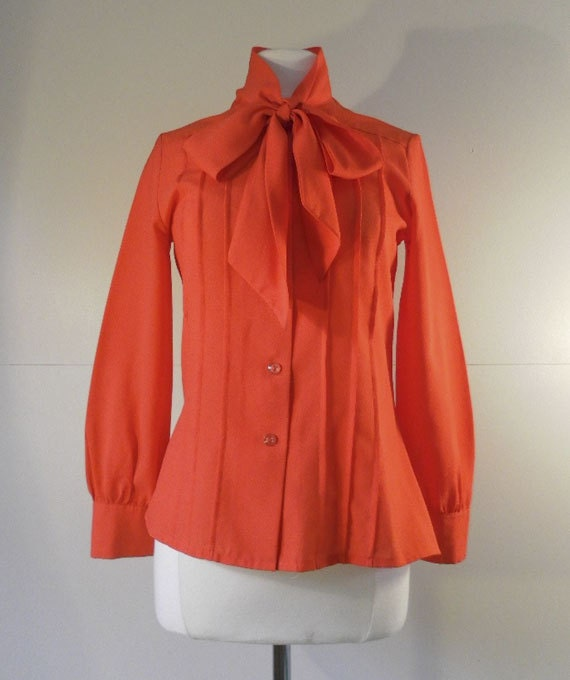 Bright Red Vintage Blouse with Tie Collar