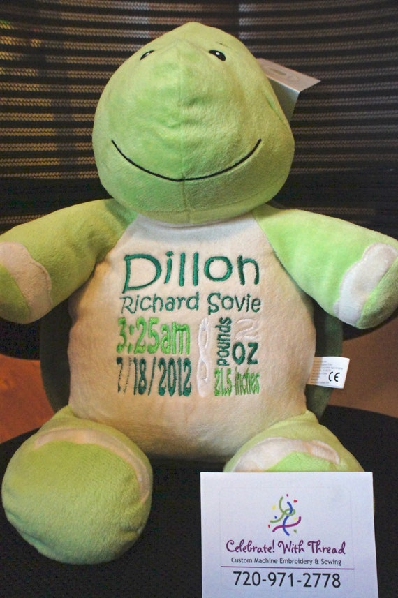 """Personalized Baby Gift """"Baby Cubby"""" Mr. Shigglesworth the Turtle, a plush stuffed animal keepsake with machine embroidered birth information"""