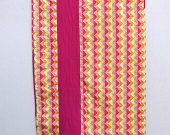 Pieced Pink Stripe Quilt: Generous Crib Size for a Boy or Girl. Perfect for Tummy Time.