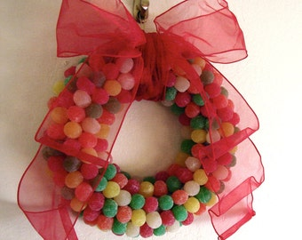 Edible Fruit Flavored Gumdrop Wreath - Edible Candy Arrangements - Holiday Christmas Easter Holiday Wreath
