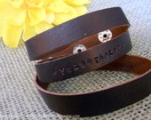 Leather Wrap Bracelet - Personalized, Hand-Stamped with names, Bible verse, phrase, etc.