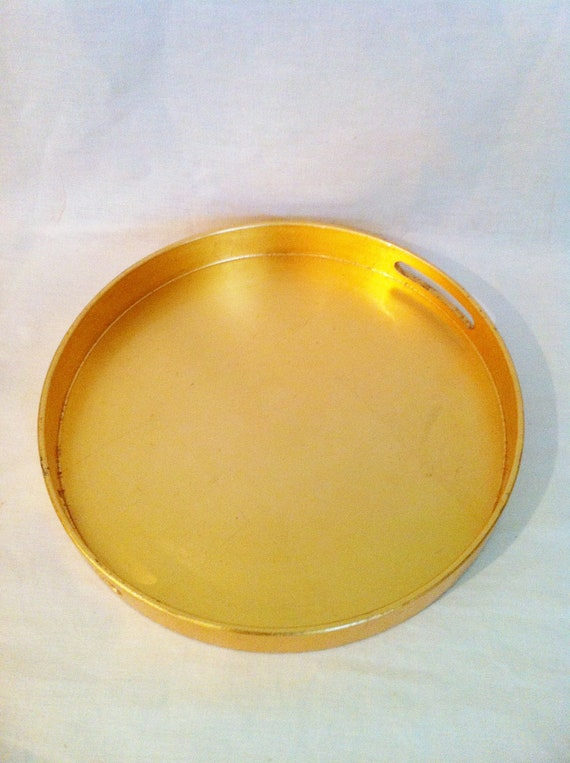 Vintage gold laquer round tray large