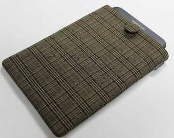Kindle Cover, Kindle Case, padded, Brown plaid